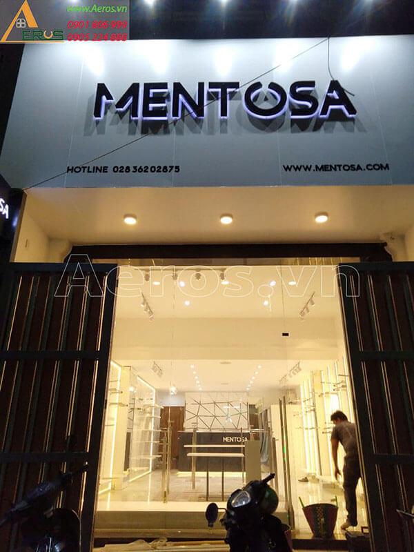 Thi công làm bảng hiệu shop thời trang Mentosa