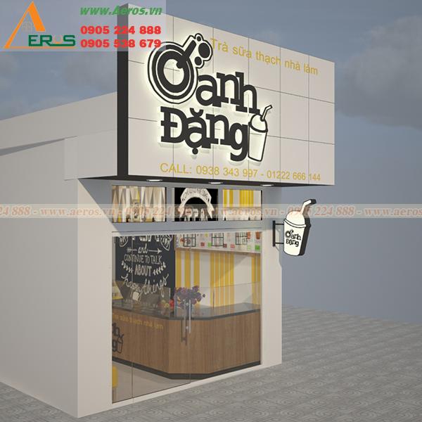Hình ảnh thiết kế bảng hiệu quán trà sữa Oanh Đặng tại Vũng Tàu