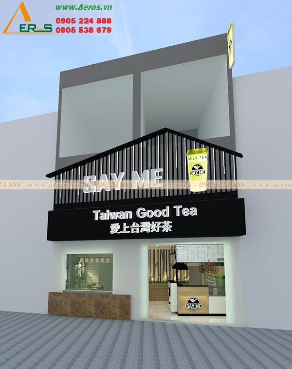 Hình ảnh thiết kế bảng hiệu quán trà sữa SAY ME tại TP Cần Thơ