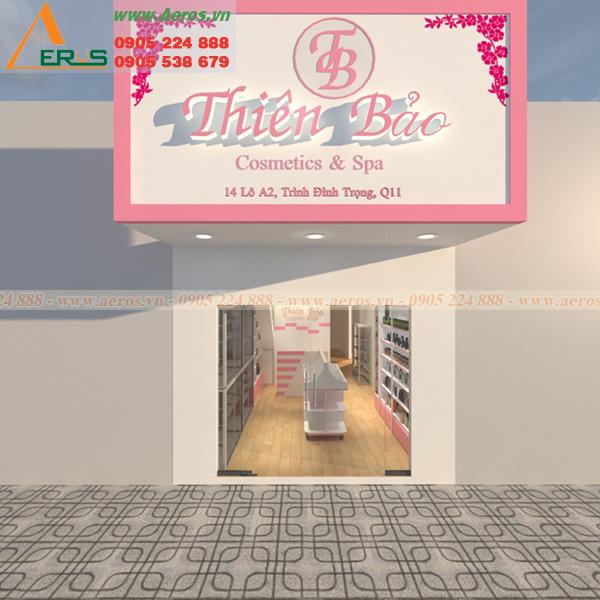 Hình ảnh thiết kế bảng hiệu shop mỹ phẩm Thiên Bảo tại quận 11, TPHCM