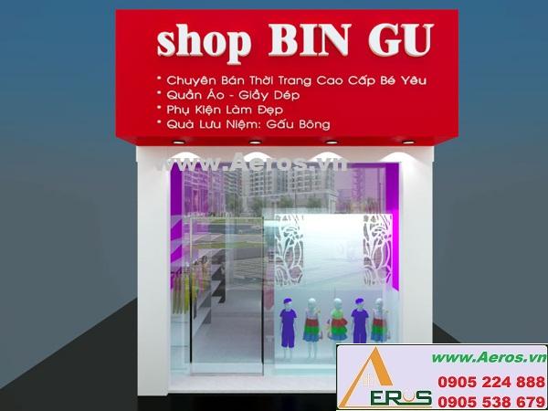 Thi công làm bảng hiệu shop thời trang trẻ em Bin Gu