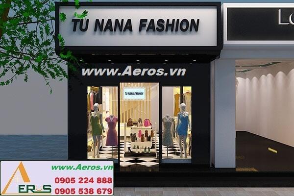 Thi công làm bảng hiệu showroom thời trang Tu NaNa